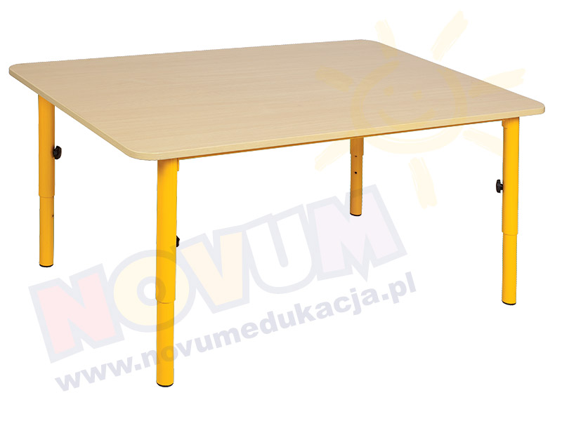 Stolik przedszkolny reg. 40-59 nogi żółte, blat klon