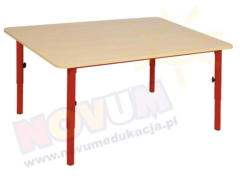 Stolik przedszkolny reg. 59-76 nogi czerwone, blat klon