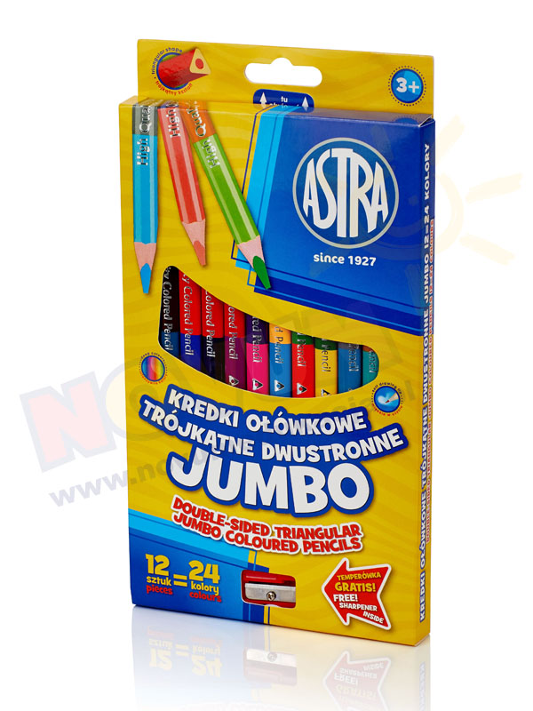 Kredki ołówkowe jumbo trójkątne dwustronne 12 sztuk=24 kolory